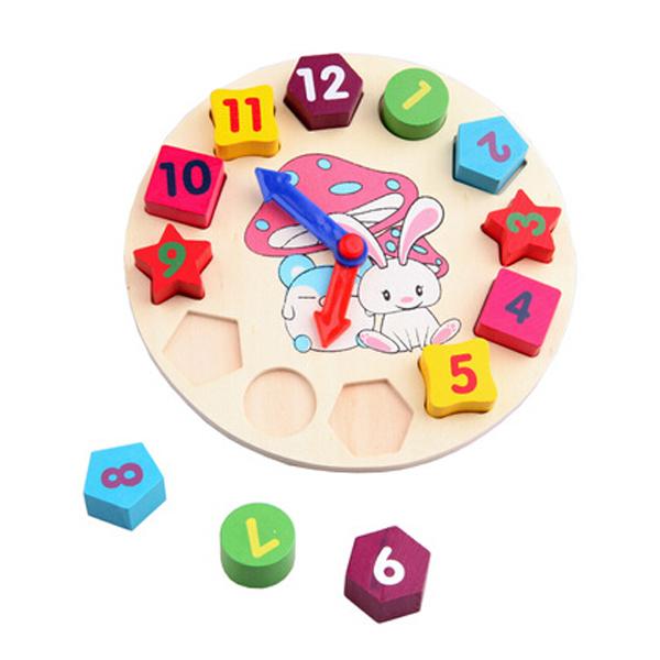 1PCS Free Shipping Children's Round Shape Sorting Clock / Wooden Shape Sorter / Wooden First Clock Toys(China (Mainland))