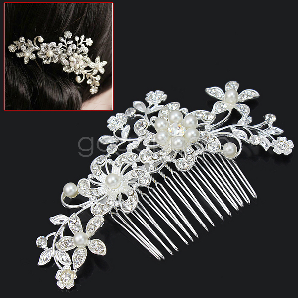 Elegant Silver Bridal Wedding Hair Comb Pearl Crystal Hair Pin Clip Accessory