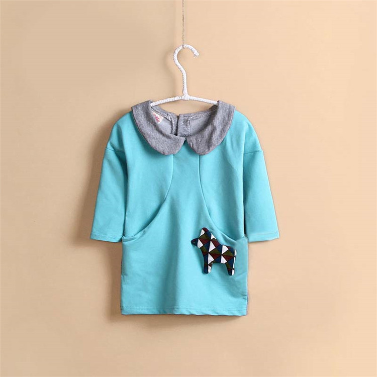 2015 spring & autumn new style baby girls patchwork long T-shirts little girls long sleeve clothing girls basic shirts A2295(China (Mainland))