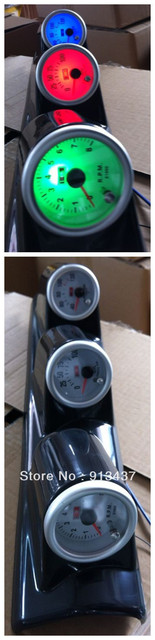 7 colors combination meter set rpm+water temp+oil press+black tripple pod