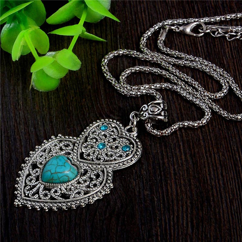 LUCKY YEAR Bohemian Style Womens Jewelry Charming Heart Pendant Pretty Natural Stone Necklace Nice Shipping(China (Mainland))