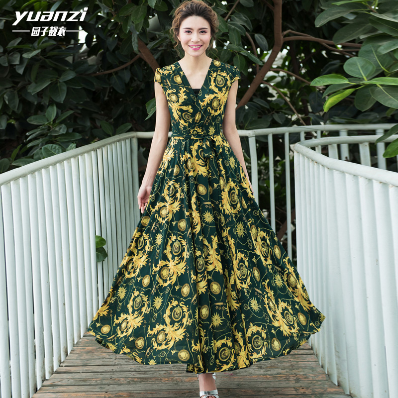 The garden beautiful clothes 2016 new spring and summer dress slim lady Chiffon floral large swing  female 572