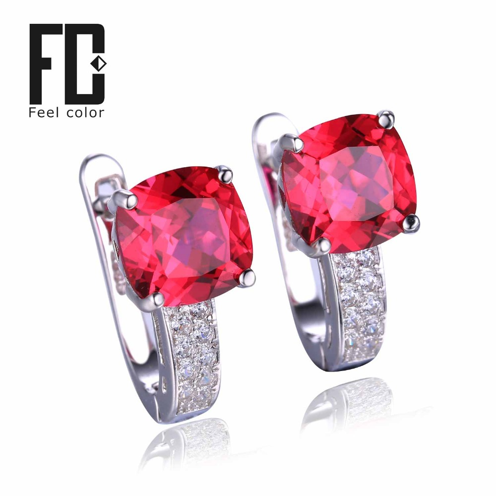 Pigeon Blood Red Ruby Engagement Wedding Earrings Clip Solid 925 Sterling Solid Silver Square Cut
