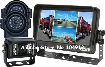 "7"" Quad Backup Rear View Reverse System Side View Camera"