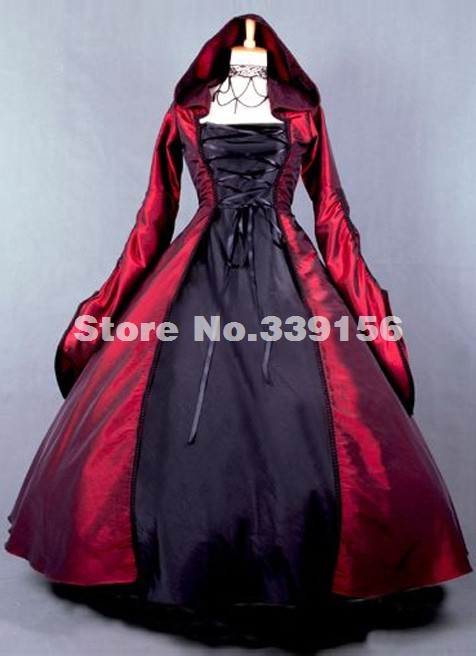 Halloween Vampire Gown Red And Black Civil War Gothic