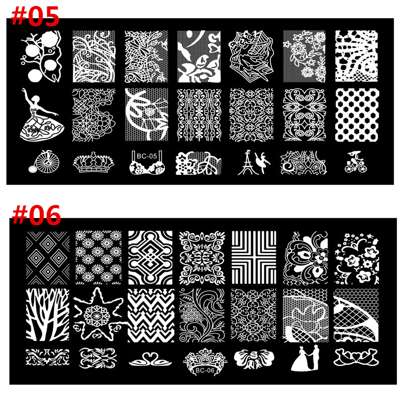 20 Designs Stainless Steel Nail Art Stamping Plates Nail Seal Manicure Polaco Printer Tool Templates Nail Stamp Stencils BN034