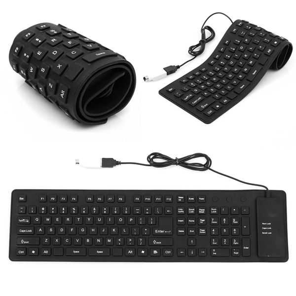 Hot Sale Lightweight Ultra-Slim Portable USB Flexible Foldable Silent Silicon Keyboard for Sony For PS2 Computer Laptop PC(China (Mainland))
