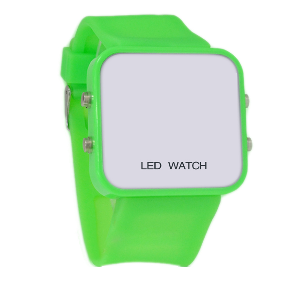 HOT!Green Exquisite Appearance Digital LED Mirror Watch with Soft Rubber Material<br><br>Aliexpress
