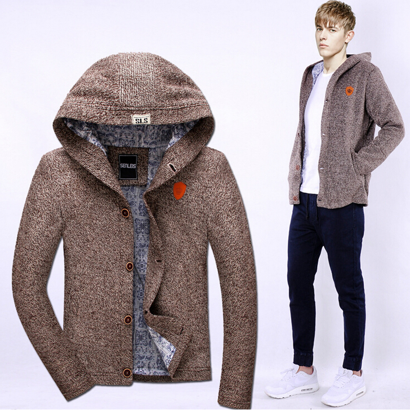 2016 Sweaters Men Cardigans Men Solid Color Casual Style Thicken Hooded Sweaters New Design High Quality Factory Droshipping(China (Mainland))