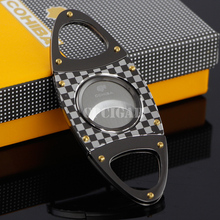Free Shipping Practical Gadgets Fashion Tartan Design Stainless Steel Dual Blade Cigarette Cigar Cutter Scissors by CPCigar