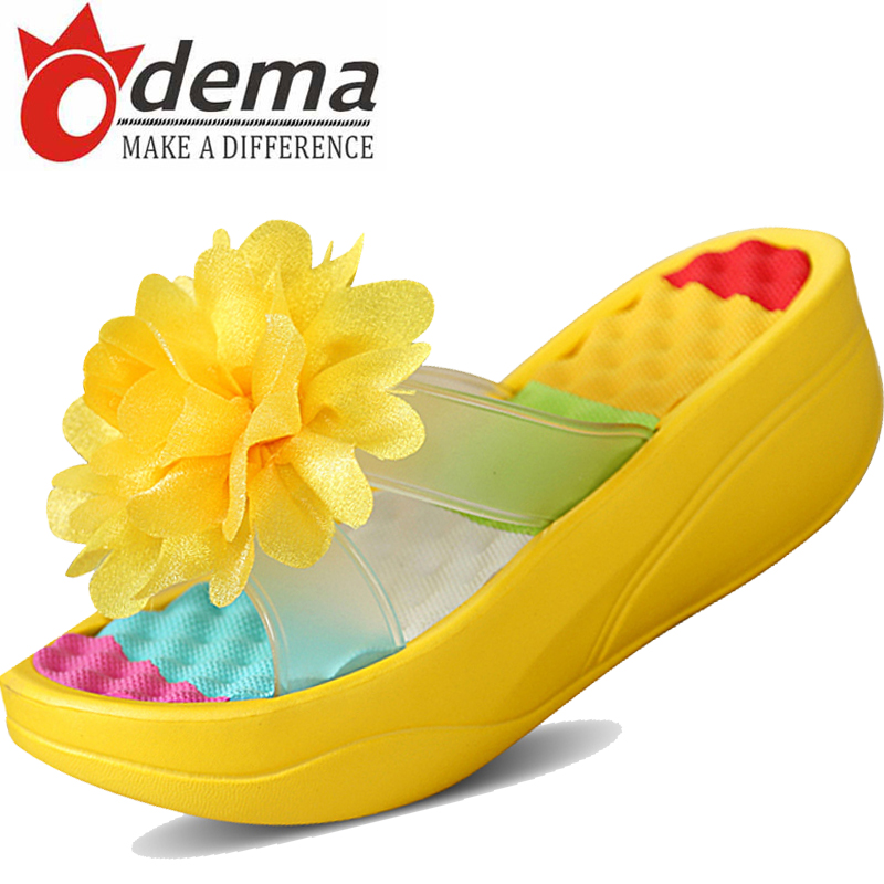 Hot 2016 Summer Bohemia Flower Women Slides Soft PU Leather Casual Slip-on Women's Wedges Beach Shoes Slippers 36-40(China (Mainland))
