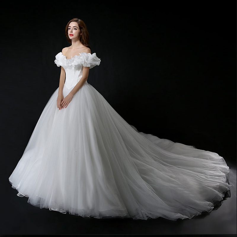 Halloween Wedding Gowns: Romantic White Ball Gown Wedding Dress 2016 Tulle