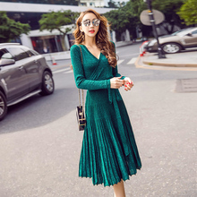 Buy Sexy Mousse V-neck Pleated Straped Sexy Dresses Spring Women Elegant High Waist Slimming Dress Club Vestidios Green Gray for $25.19 in AliExpress store