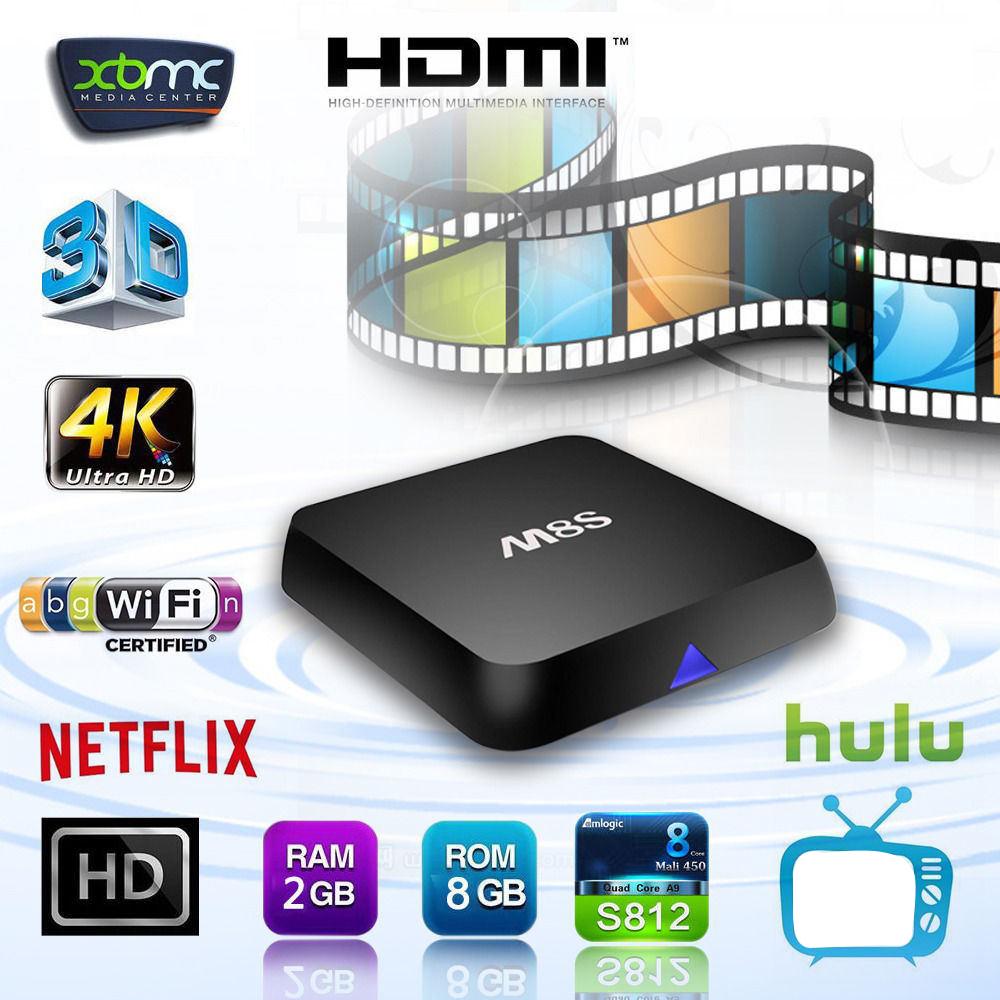 NEW 2015 Professional Portable Android 4.4 4K TV Box M8S S812 2GB+8GB Amlogic Quad Core Bluetooth Player<br><br>Aliexpress