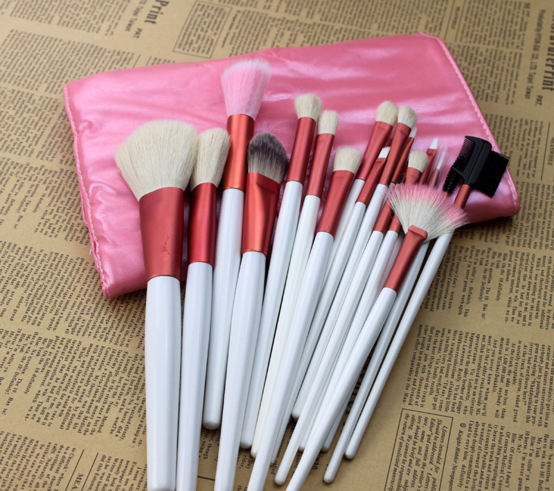 Hot maquillaje 20pcs set pink make up brushes professional high quality beauty ornament Kit with PU bag of styling tools(China (Mainland))