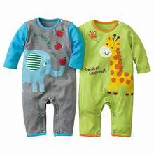 New Kids Baby Boys Long Sleeve Romper Outfits Cotton Jumpsuit Climbing Clothes 0-2 Y(China (Mainland))