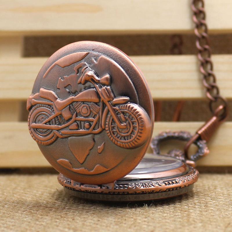 Pocket Watch Bronze Necklace Pendant Chain Pocket Watch Steampunk Motor Cycle Motor Bike Quartz Dress Clock P733C(China (Mainland))