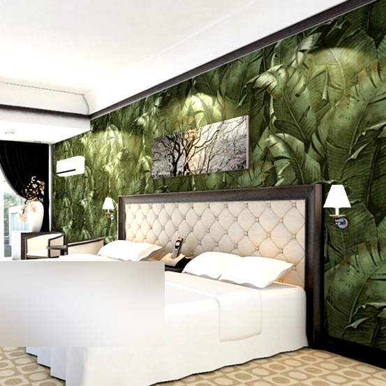 Yellow green 3d nature banana leaf wallpaper vinyl for Images of 3d wallpaper for bedroom