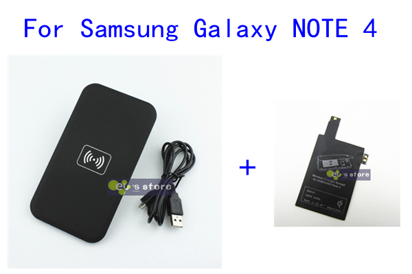 Black MC-02A QI Wireless Charger Pad + Wireless Charger Receiver for Samsung Galaxy NOTE 4