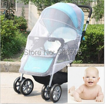 Drop Shipping New Infants Baby Stroller Mosquito Net Buggy Pram Protector Pushchair Fly Midge Insect Bug Cover 2 Sizes(China (Mainland))