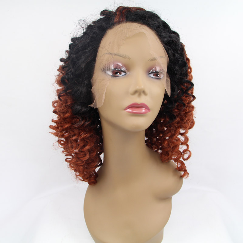 afro short kinky curly hair 100%synthetic hair wigs ombre ...