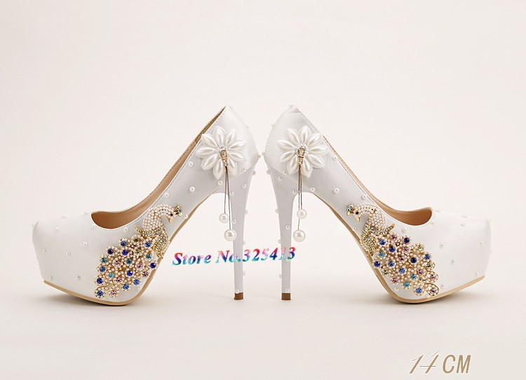 Sweet white pearl and pecock bridal shoes high heel  waterproof platform shoes women's satin pumps free shipping