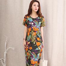 2016 Spring Summer Dress Maxi Women dress Casual Loose Short Sleeve O-Neck Linen Print Dresses QS739