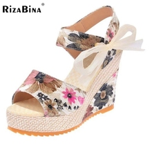 Buy Sexy Ladies Wedges Sandals Platform Print Bowtie Shoes Women Trifle Summer Beach Vacation Leisure Female Footwears Size 35-40 for $13.98 in AliExpress store