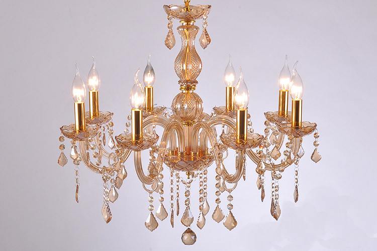 8-arm dining room contemporary champagne crystal chandelier silver candle holder lustres indoor light bedroom Bar kids lighting(China (Mainland))