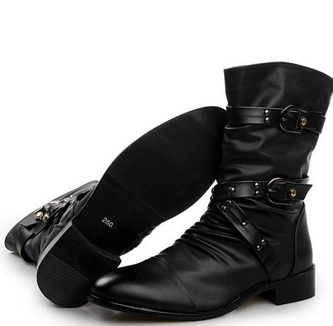 2015 Size 38-43 Winter Men Fashion Rivet Buckle Motorcycle Boots T Show Army W6483