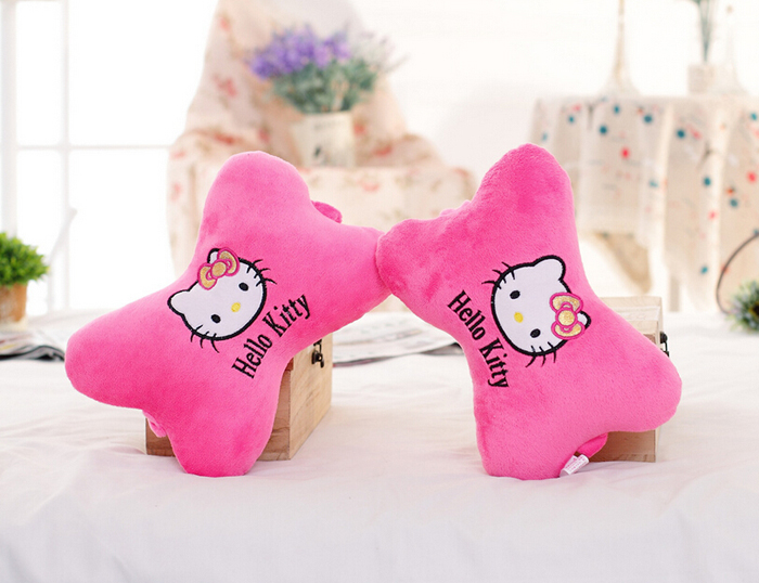 2PCS Cotton High Quality Car Neck Pillow Headrest,RED PINK CUTE Cartoon HELLO KITTY Car Accessories Free Shipping(China (Mainland))