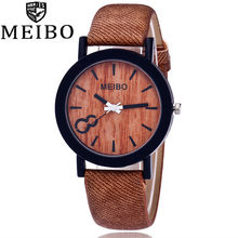 Reloj de imitación de grano de madera de imitación de lujo Unisex Relojes de Cuero casuales para hombre, relojes de pareja, reloj de pulsera de cuarzo deportivo 533(China)