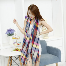 2016 Classic Autumn And Winter Plaid Cashmere Pashmina Double sided Lengthen And Thick Scarf Warm font