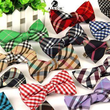 2015 new men ties Korean version of the British grid business casual Married groom groomsman tie Gravata lot