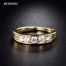 Buy BUDONG 2017 Fashion Jewelry Vintage Wedding Rings Women Crystal CZ Gold-Color Rings Crystal Zirconia Engagement Rings R143 for $3.24 in AliExpress store