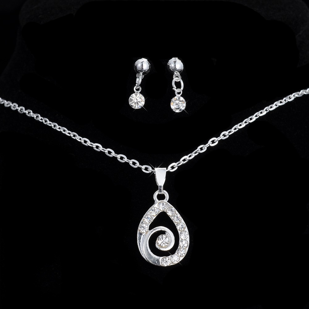 Crystal Silver Plated Jewelry Sets wedding bride party women gift Fashion Necklace Pendant Drop Earrings - Rinhoo store