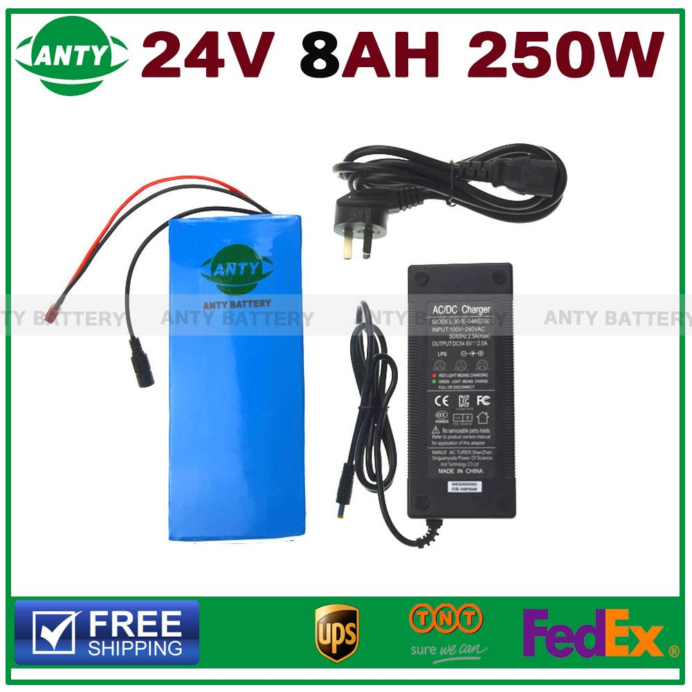 24v E-bike Lithium Battery 8ah 250w Electric Bike Battery 24v With 29.4v 2a Charger,15a Bms 24v Battery Pack Free Tnt Shipping(China (Mainland))