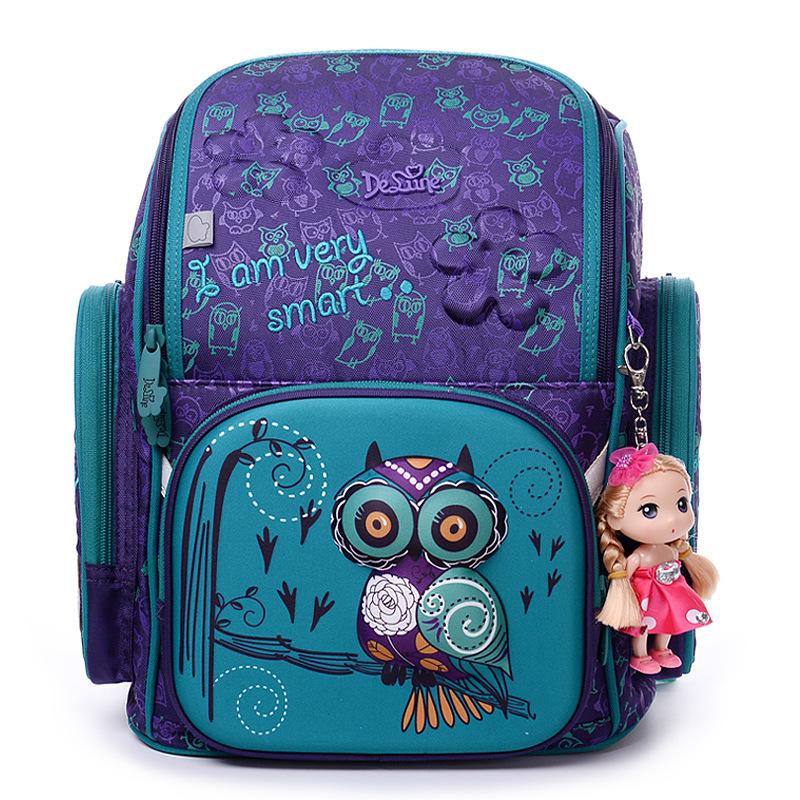 2016 Brand Delune New Girl School Bags 3D Cute Bear Flower Pattern Waterproof Orthopedic Backpack Schoolbag Mochila Infantil - Cindy Schoolbags Store store