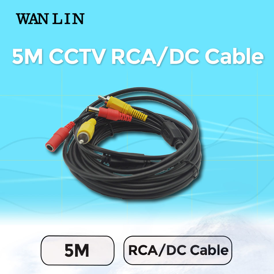 WANLIN Freeshipping 5M RCA cable the Audio cable Video Power AV Black Cable for DVR CCTV Security Surveillance Camera(China (Mainland))