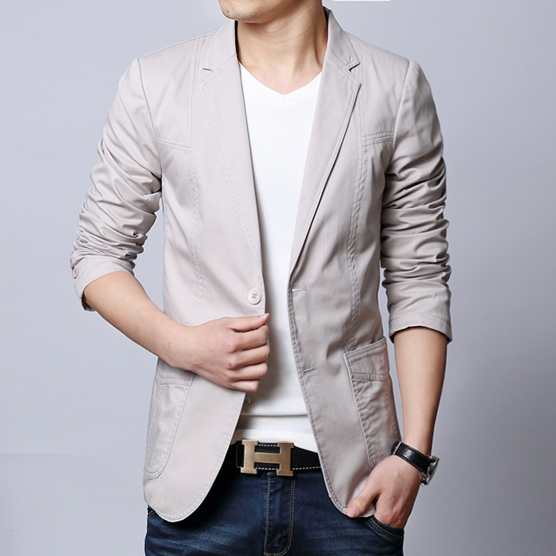 Spring Autumn Formal Fashion Mens Suit Collar 100% Cotton Slim Grey Black Khaki Blazer Coat , Male Fall Blazers Coats For Man(China (Mainland))