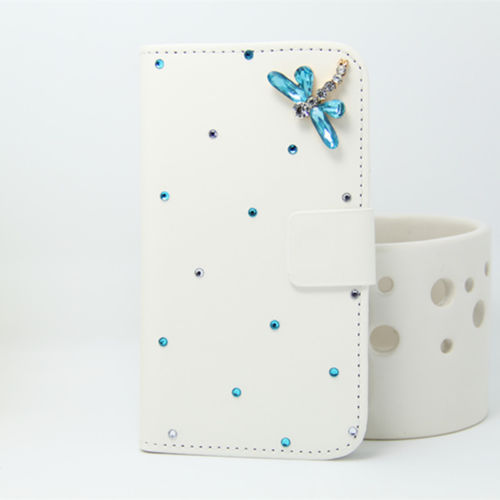 blue dragonfly (1) Bling Bowknot PU Leather Wallet Handbag Flip phone Case Cover For LG G3 mini D722 D725 Cell Phone(China (Mainland))