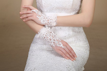 Fast Shipping In Stock Elegant Lace Beaded White Ivory Wedding Accessories Fingerless Bridal Gloves