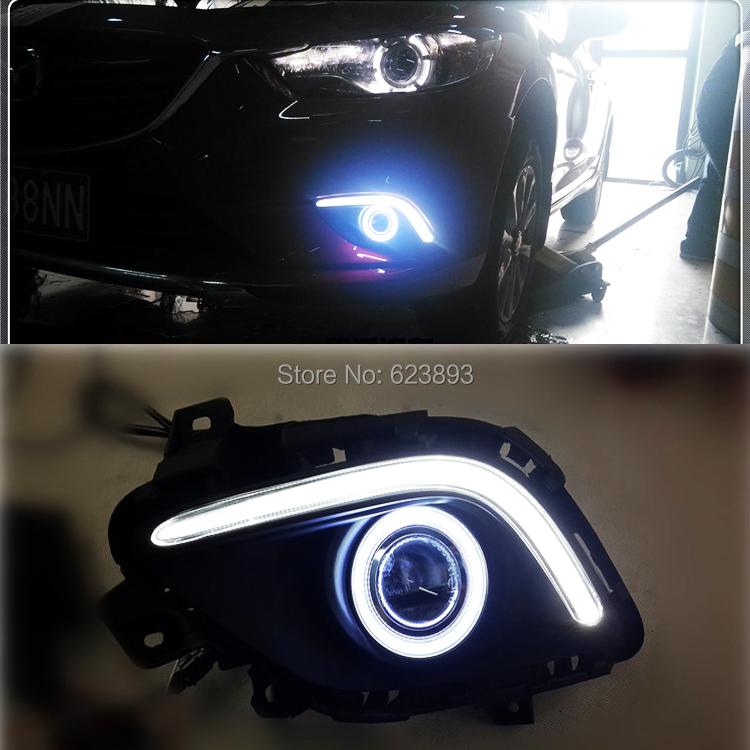Free shipping,2x LED Daytime Running Lights Car styling DRL fog lights + Angel Eyes Kit For Mazda 6 M6 ATENZA 2014-2016(China (Mainland))
