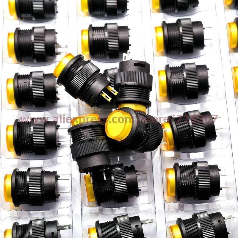 20pcs yellow push button switch R16-503B 16mm round shape non locking 250v 3A 2pins(China (Mainland))