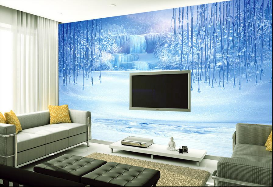custom 3d murals wallpaper Snow Fairy Tale Non-woven 3d wallpaper walls Living room TV backdrop kitchen wallpapers(China (Mainland))
