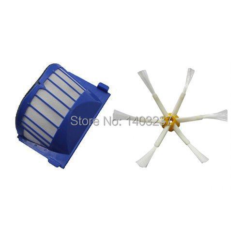 Aero Vac Filter Side Brush 6-Armed for iRobot Roomba 500 600 Series 536 550 551 552 564 620 630 650 660 Vacuum Cleaning Robotic(China (Mainland))