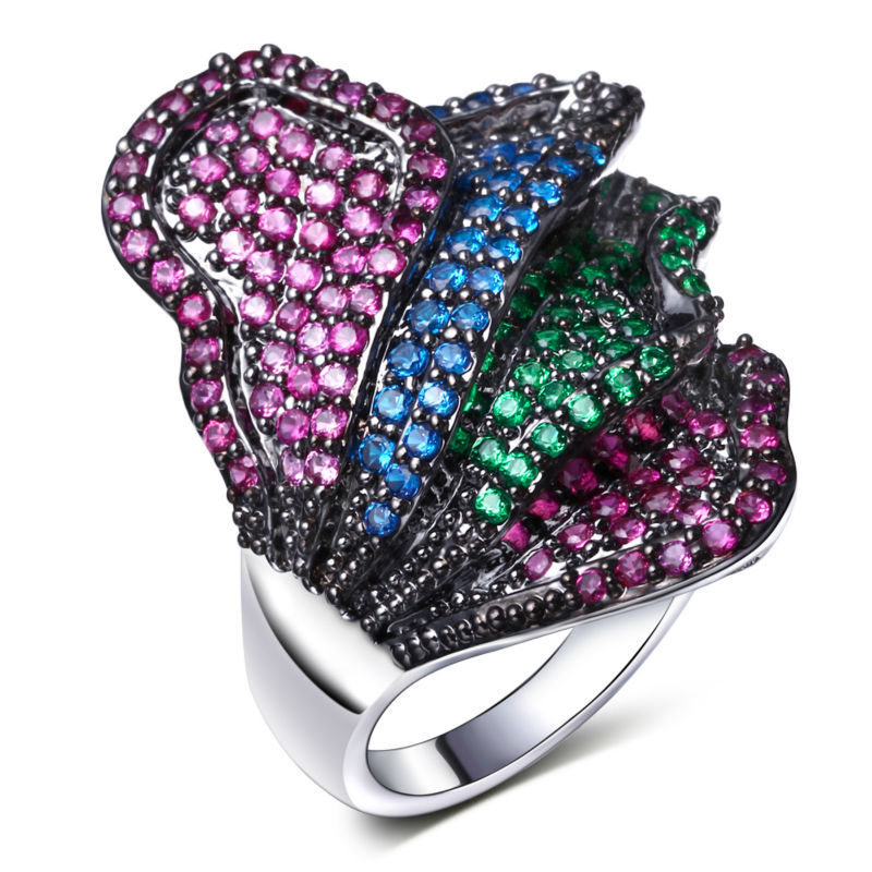 luxury AAA zircon The red green blue champagne color zircon Platinum plated beautiful flower ring High-end and classy workshop(China (Mainland))