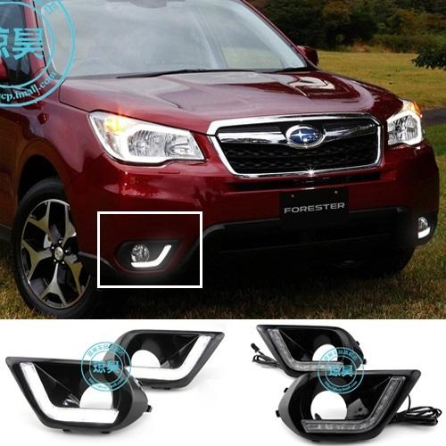 Free shipping ! 12V 6000k LED DRL Daytime running light for Subaru Forester 2013-2014 Fog lamp frame Fog light Super White<br><br>Aliexpress