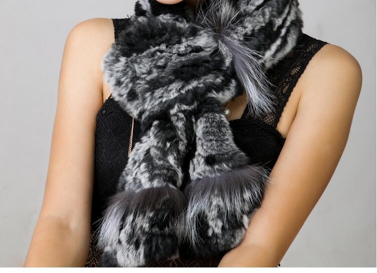 Hot New Fashion ear neck warmer HandKnitted winter stolen 85cm long Genuine Rex Rabbit+fox Fur Scarf Rabbit Fur Scarf fishtail