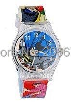 6018 Cartoon Design Rubber Strap Children Analog Watch(multicolour),Batman design watch,Children watch,Free shipping